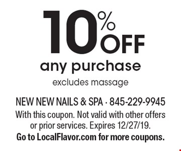 10% off any purchase excludes massage. With this coupon. Not valid with other offers or prior services. Expires 12/27/19. Go to LocalFlavor.com for more coupons.