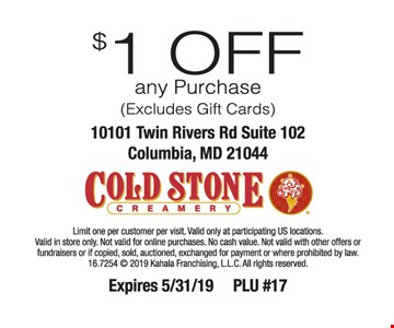 $2 OFF a 6-pack of Ice Cream Cupcakes or a 4-pack of Ice Cream Cookie Sandwiches. Limit one per customer per visit. Excludes Pies, Petite Cakes & Cupcakes. Valid only at participating US locations. Valid in store only. Not valid for online purchases. No cash value. Not valid with other offers or fundraisers or if copied, sold, auctioned, exchanged for payment or prohibited by law. 2016 Kahala Franchising, L.L.C. Cold Stone Creamery design is a registered trademark of Kahala Franchising, L.L.C. Expires 5-17-19. PLU #12