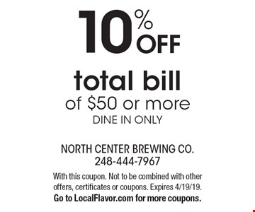 10% OFF total bill of $50 or more dine in only. With this coupon. Not to be combined with other offers, certificates or coupons. Expires 4/19/19. Go to LocalFlavor.com for more coupons.