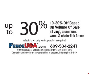 up to 30% off all vinyl, aluminum, wood & chain-link fence. 10-30% Off Based On Volume Of Sale. Select styles only - min. purchase required. With this coupon. Not valid on existing orders, new orders only. Cannot be combined with any other offers or coupons. Offer expires 3-8-19.