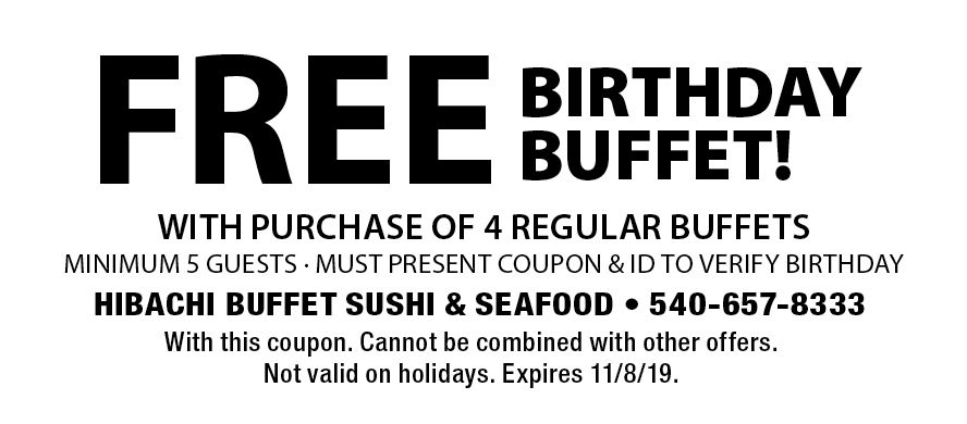 hibachi buffet and sushi stafford va coupon