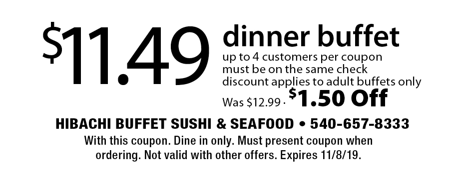Hibachi Buffet Sushi - 2 Coupons - Best Buffet in Stafford, VA