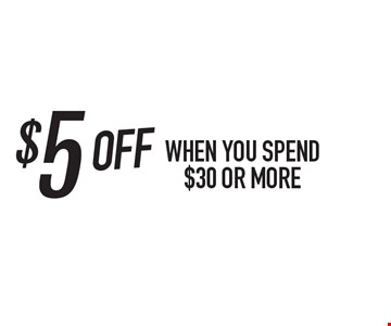 $5 off when you spend $30 or more. One coupon per person. Per visit. Not valid in conjunction with any other coupon or lunch menu specials. No cash value. Expires 11/8/19.