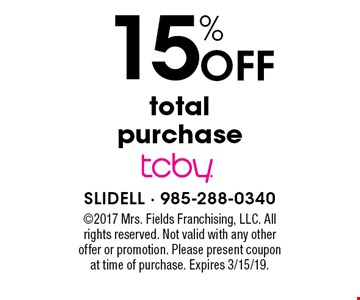 15% Off total purchase. ©2017 Mrs. Fields Franchising, LLC. All rights reserved. Not valid with any other offer or promotion. Please present coupon at time of purchase. Expires 3/15/19.