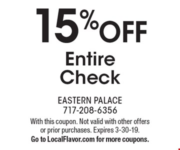 15% OFF Entire Check. With this coupon. Not valid with other offers or prior purchases. Expires 3-30-19. Go to LocalFlavor.com for more coupons.