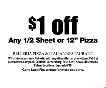 $1 off Any 1/2 Sheet or 12