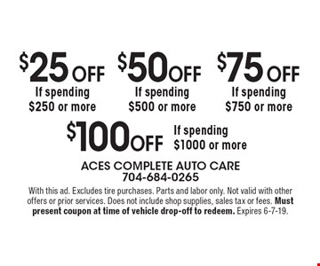 $100 Off If spending $1000 or more, $75 Off If spending $750 or more, $50 Off  If spending $500 or more, $25 Off If spending $250 or more.  With this ad. Excludes tire purchases. Parts and labor only. Not valid with other offers or prior services. Does not include shop supplies, sales tax or fees. Must present coupon at time of vehicle drop-off to redeem. Expires 6-7-19.