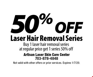 50% OFF Laser Hair Removal Series. Buy 1 laser hair removal series  at regular price get 1 series 50% off. Not valid with other offers or prior services. Expires 1/7/20.