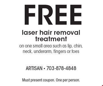 Free laser hair removal treatment. On one small area such as lip, chin, neck, underarm, fingers or toes. Must present coupon. One per person.