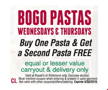 Buy One Pasta & Get a Second Pasta Free Wednesdays & Thursdays. Equal or lesser value carryout & delivery only. Valid at Rosati's of Richmond only. Excludes alcohol.Must mention coupon when ordering & present it upon payment. Not valid with other coupons/offers/catering. Expires 4/30/2019.