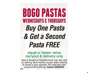 Buy One Pasta & Get a Second Pasta Free Wednesdays & Thursdays. Equal or lesser value carryout & delivery only. Valid at Rosati's of Plainfield North only. Not valid on catering. Must mention coupon when ordering & present it upon payment. Not valid with other coupons/offers/catering. Expires 4/30/2019.
