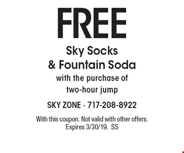 FREE Sky Socks & Fountain Sodawith the purchase of two hour jump. With this coupon. Not valid with other offers. Expires 3/30/19. Go to LocalFlavor.com for more coupons.