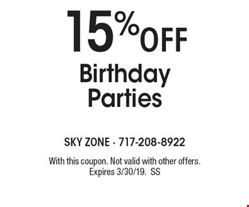 15%off Birthday Parties. With this coupon. Not valid with other offers. Expires 3/30/19. Go to LocalFlavor.com for more coupons.
