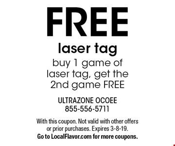 FREE laser tag buy 1 game of laser tag, get the 2nd game FREE. With this coupon. Not valid with other offers or prior purchases. Expires 3-8-19.Go to LocalFlavor.com for more coupons.