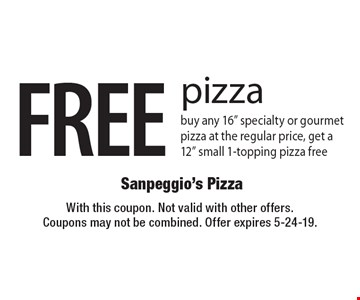 FREE pizza. Buy any 16