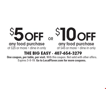 $5 Off any food purchase of $25 or more OR $10 Off any food purchase of $45 or more • dine in only. One coupon, per table, per visit. With this coupon. Not valid with other offers. Expires 3-8-19. Go to LocalFlavor.com for more coupons.