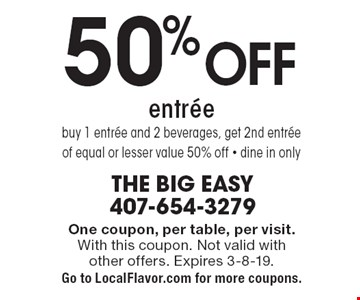 buy 1 entrée and 2 beverages, get 2nd entrée of equal or lesser value 50% off • dine in only. One coupon, per table, per visit. With this coupon. Not valid with other offers. Expires 3-8-19. Go to LocalFlavor.com for more coupons.