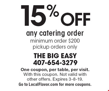 15% Off any catering order, minimum order $200. pickup orders only. One coupon, per table, per visit. With this coupon. Not valid with other offers. Expires 3-8-19. Go to LocalFlavor.com for more coupons.
