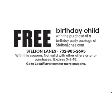 FREE birthday child. WIth the purchase of a birthday party package at SteltonLanes.com. With this coupon. Not valid with other offers or prior purchases. Expires 3-8-19.Go to LocalFlavor.com for more coupons.