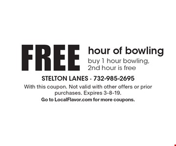 FREE hour of bowling buy 1 hour bowling,2nd hour is free. With this coupon. Not valid with other offers or prior purchases. Expires 3-8-19. Go to LocalFlavor.com for more coupons.