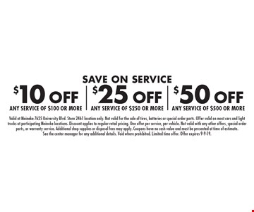 Save on Service $10 off any service of $100 or more, $25 off any service of $250 or more OR $50 off any service of $500 or more. Valid at Meineke 7625 University Blvd. Store 2461 location only. Not valid for the sale of tires, batteries or special order parts. Offer valid on most cars and light trucks at participating Meineke locations. Discount applies to regular retail pricing. One offer per service, per vehicle. Not valid with any other offers, special order parts, or warranty service. Additional shop supplies or disposal fees may apply. Coupons have no cash value and must be presented at time of estimate. See the center manager for any additional details. Void where prohibited. Limited time offer. Offer expires 9-9-19.