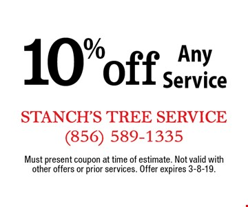 10% off Any Service. Must present coupon at time of estimate. Not valid with other offers or prior services. Offer expires 3-8-19.