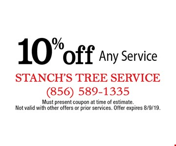 10% Off Any Service. Must present coupon at time of estimate. Not valid with other offers or prior services. Offer expires 8/9/19.