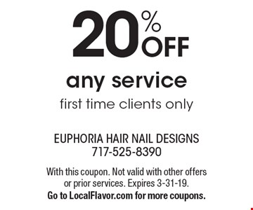 20% off any service. First time clients only. With this coupon. Not valid with other offers or prior services. Expires 3-31-19. Go to LocalFlavor.com for more coupons.