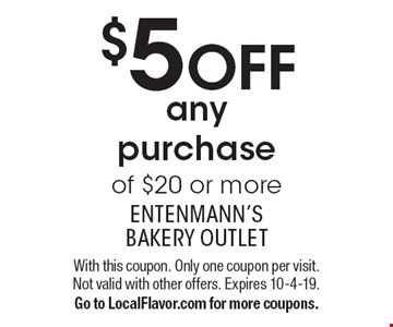 $5 OFFany purchase of $20 or more. With this coupon. Only one coupon per visit. Not valid with other offers. Expires 10-4-19. Go to LocalFlavor.com for more coupons.