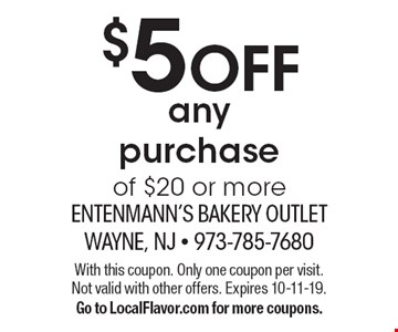 $5 OFF any purchase of $20 or more. With this coupon. Only one coupon per visit. Not valid with other offers. Expires 10-11-19. Go to LocalFlavor.com for more coupons.