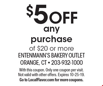 $5 OFF any purchase of $20 or more. With this coupon. Only one coupon per visit. Not valid with other offers. Expires 10-25-19.Go to LocalFlavor.com for more coupons.