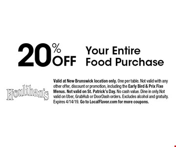 20% Off Your Entire Food Purchase. Valid at New Brunswick location only. One per table. Not valid with any other offer, discount or promotion, including the Early Bird & Prix Fixe Menus. Not valid on St. Patrick's Day. No cash value. Dine in only.Not valid on Uber, GrubHub or DoorDash orders. Excludes alcohol and gratuity. Expires 4/14/19. Go to LocalFlavor.com for more coupons.
