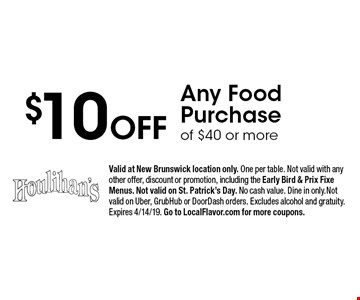 $10 Off Any Food Purchase of $40 or more. Valid at New Brunswick location only. One per table. Not valid with any other offer, discount or promotion, including the Early Bird & Prix Fixe Menus. Not valid on St. Patrick's Day. No cash value. Dine in only.Not valid on Uber, GrubHub or DoorDash orders. Excludes alcohol and gratuity. Expires 4/14/19. Go to LocalFlavor.com for more coupons.