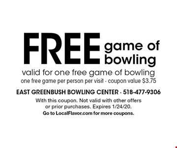 Free game of bowling. Valid for one free game of bowling. One free game per person per visit - coupon value $3.75. With this coupon. Not valid with other offers or prior purchases. Expires 1/24/20. Go to LocalFlavor.com for more coupons.