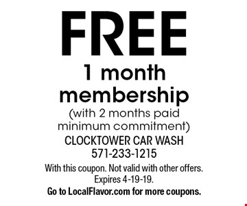 FREE 1 month membership (with 2 months paid minimum commitment). With this coupon. Not valid with other offers. Expires 4-19-19. Go to LocalFlavor.com for more coupons.