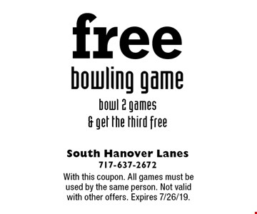 free bowling game. Bowl 2 games & get the third free. With this coupon. All games must be used by the same person. Not valid with other offers. Expires 7/26/19.