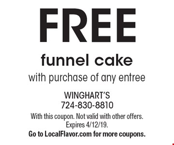 FREE funnel cake with purchase of any entree. With this coupon. Not valid with other offers. Expires 4/12/19. Go to LocalFlavor.com for more coupons.