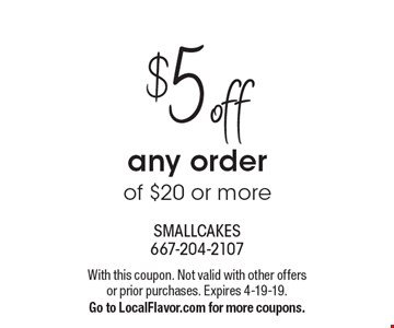 $5 off any order of $20 or more. With this coupon. Not valid with other offers or prior purchases. Expires 4-19-19. Go to LocalFlavor.com for more coupons.