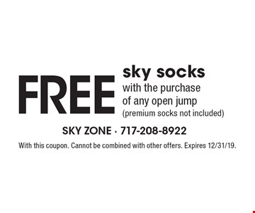 Free sky socks with the purchase of any open jump (premium socks not included). With this coupon. Cannot be combined with other offers. Expires 12/31/19.