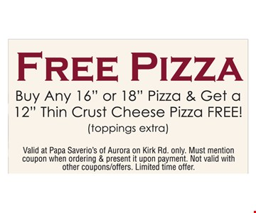 Free Pizza Buy Any 16