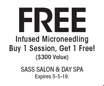 FREE Infused Microneedling Buy 1 Session, Get 1 Free!( $300 Value). With this coupon. Not valid with other offers or prior services. Go to LocalFlavor.com for more coupons.Expires 5-5-19.