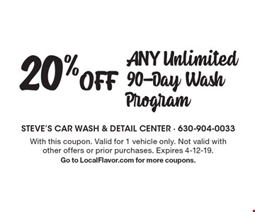 20% Off ANY Unlimited 90-Day Wash Program. With this coupon. Valid for 1 vehicle only. Not valid withother offers or prior purchases. Expires 4-12-19. Go to LocalFlavor.com for more coupons.