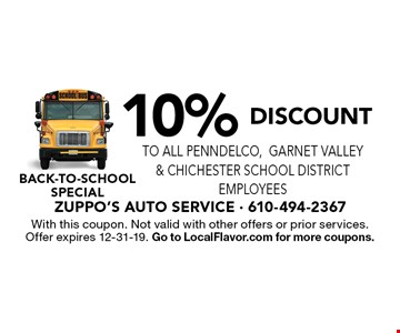 Back-to-school special 10% Discount to ALL PennDelco, Garnet Valley & Chichester School District Employees. With this coupon. Not valid with other offers or prior services. Offer expires 12-31-19. Go to LocalFlavor.com for more coupons.