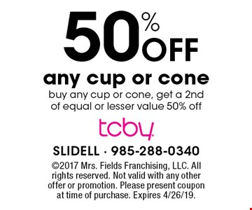 50% Off any cup or conebuy any cup or cone, get a 2nd of equal or lesser value 50% off. 2017 Mrs. Fields Franchising, LLC. All rights reserved. Not valid with any other offer or promotion. Please present coupon at time of purchase. Expires 4/26/19.
