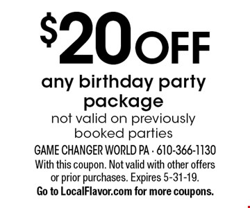 $20 OFF any birthday party package. Not valid on previously booked parties. With this coupon. Not valid with other offers or prior purchases. Expires 5-31-19. Go to LocalFlavor.com for more coupons.