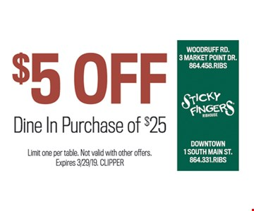 $5 off dine-in purchase of $25. Limit one per table. Not valid with other offers. Expires 3-29-19. CLIPPER
