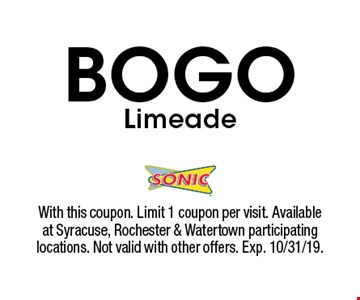 BOGO Limeade. With this coupon. Limit 1 coupon per visit. Available at Syracuse, Rochester & Watertown participating locations. Not valid with other offers. Exp. 10/31/19.