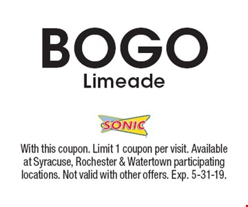 BOGO Limeade. With this coupon. Limit 1 coupon per visit. Available at Syracuse, Rochester & Watertown participating locations. Not valid with other offers. Exp. 5-31-19.