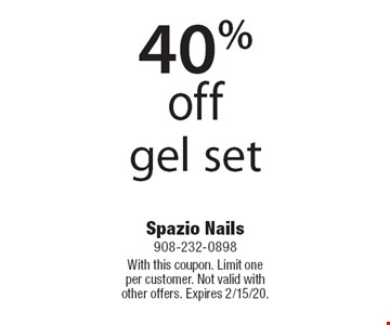 40% off gel set. With this coupon. Limit one per customer. Not valid with other offers. Expires 2/15/20.