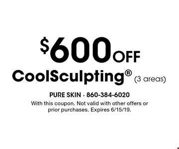 $600 Off CoolSculpting (3 areas). With this coupon. Not valid with other offers or prior purchases. Expires 6/15/19.
